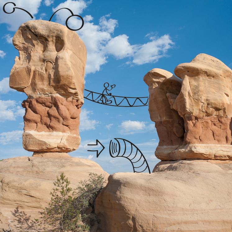 Design Thinking Skizze auf Felslandschaft