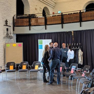 Willkommensschild zum Alumnitreffen in der Klosterkirche Lennep