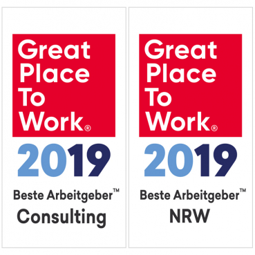 Logo Great Place to Work® Consulting und NRW 2019; Bildrechte: Great Place to Work Deutschland GmbH