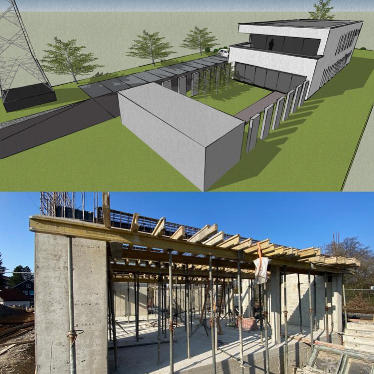 Entwurf und Bauphase des zeit   raum und das neue Bürogebäude von PRAXISFELD