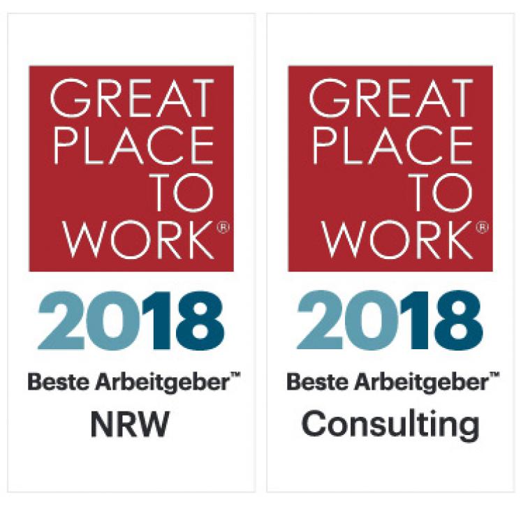 Logos Great Place to Work, Beste Arbeitgeber NRW und Beste Arbeitgeber Consulting 2018